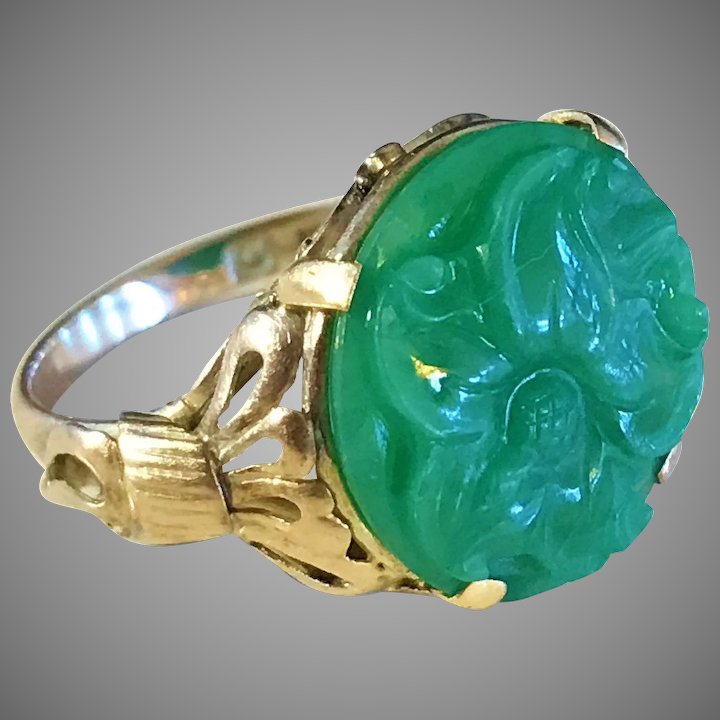 b17b4a802de23 Art Nouveau 14K Gold Carved Green Jadeite Jade Ring. Wow.