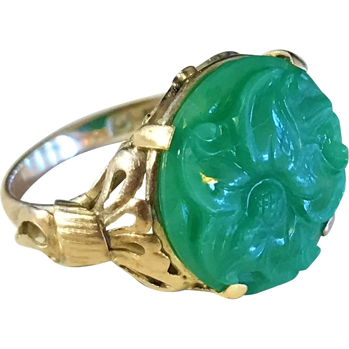 765bc720c149b Art Nouveau 14K Gold Carved Green Jadeite Jade Ring. Wow ...