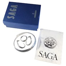 Complete set of David Andersen 1960s  Viking Saga Series Sterling Silver Jewelry. Incl Box and Book. Bracelet Earrings Ring. Wow.