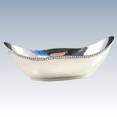 Arts and Crafts Hand Hammered Sterling Silver Jewelry Trinket Dish Bowl. Maker's Mark MAY, probably Gertrude May, NY. USA 1910s