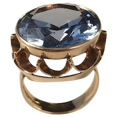 Huge and Oversized  Veikko Rantanen, Finland year 1965. 14k Gold Blue Synthetic Spinel. 12.5gram. Size 7.