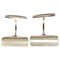 Russian 1950s Solid Silver Mother of Pearl Cufflinks.