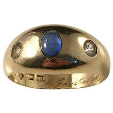 Ekström, Sweden 18k Gold Cabochon Cut Sapphire Ring year 1959. Mid Century. 6.8gram