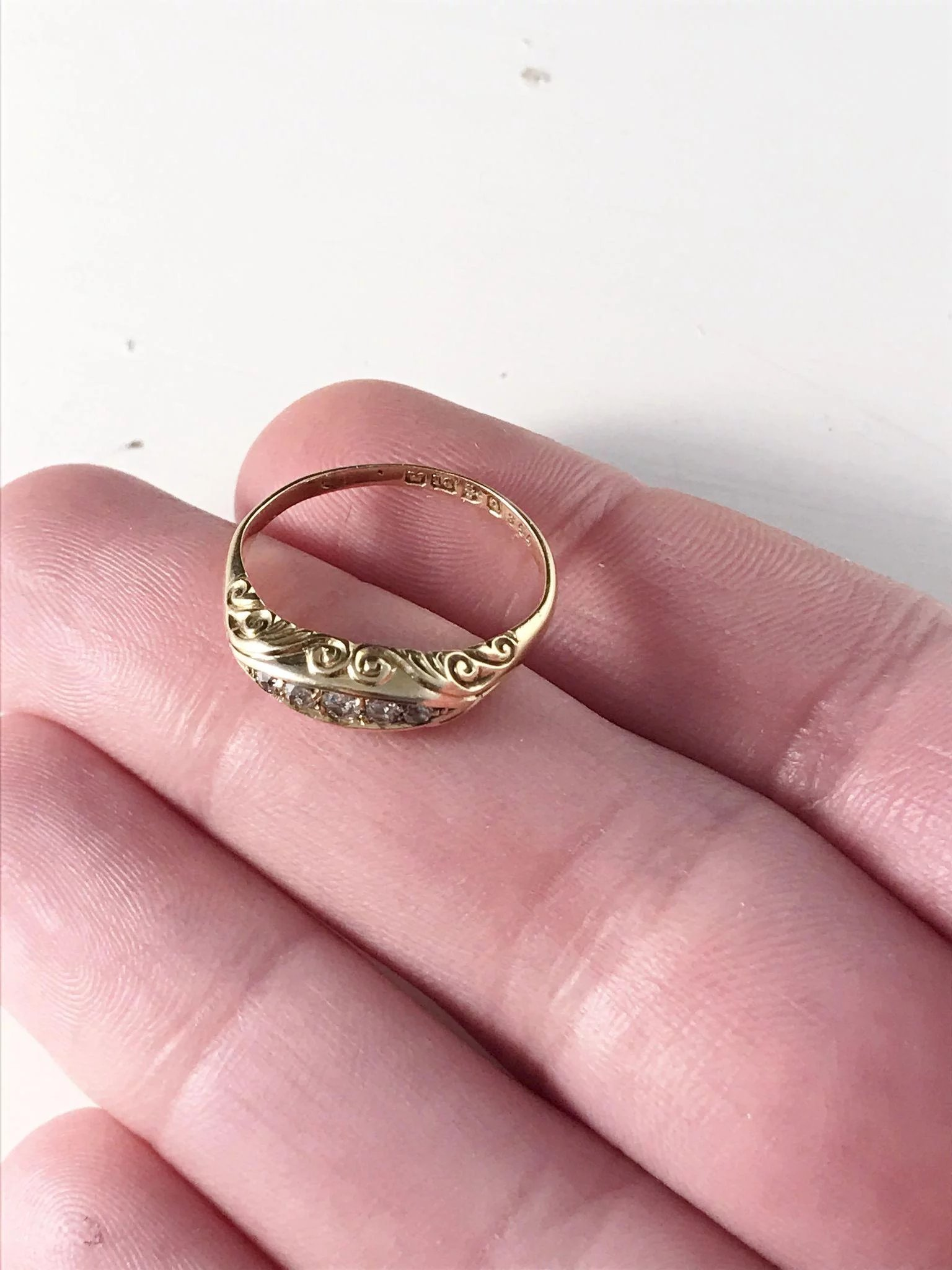 Antique Victorian Chester England 18k Gold Diamond Ring, year 1899 ...