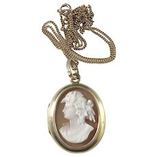 Antique year 1885, Gothenburg Sweden. Solid Silver Cameo Photo Locket Pendant Necklace.