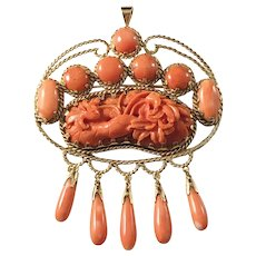 Huge 1.7oz 18k Gold Carved Coral Pendant Brooch. Antique Coral Centerpiece. Gold Setting South Europe 1930s. Marked. Provenience
