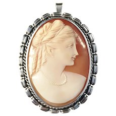 Large Solid Silver Cameo Pendant Brooch Hugo Grun & Co, Stockholm year 1949. Excellent.