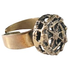 Pentti Sarpaneva, Finland (1925-1978) Bronze Modernist Brutalist Ring. Adjustable size.