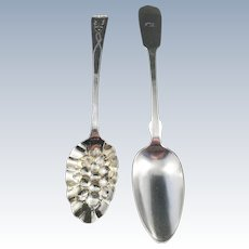 Large Berry Spoon Sterling Silver London year 1782. Large Solid Silver Table Spoon Berlin, Germany 1850s