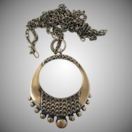 Large Pentti Sarpaneva, Finland (1925-1978) Bronze Modernist Pendant Necklace. 1960s. Marked