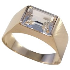 Ceson Sweden year 1956, 18k Gold Rock Crystal Ring. Mid Century Modern