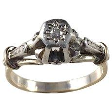 Victorian 18k Gold Diamond Ring in Silver Setting. Rare.