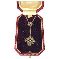 18k Gold Art Nouveau Belle Epoque Necklace in Original Box. Italy. Excellent
