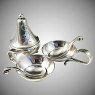 Georg Jensen 1915-1930s Sterling Silver Set, Open Salts, Pepper Shaker and Salt Spoons. Wow.