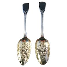 Two Large Sterling Silver Berry Spoons. London Early 1800s. Excellent.