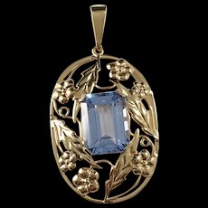 Art Nouveau 18k Gold Light Blue Stone Large Pendant. Hugo Grun, Stockholm. Excellent.