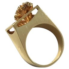 Ove Fogh Pedersen, Denmark (1966-88) Modernist 14k Gold Ring. 10.1gram. Also marked Handmade
