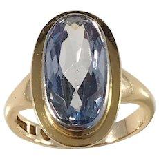 Victor Johansson, Sweden year 1951 Mid Century Modern 18k Gold Clear Blue Stone Ring. 7.0gram