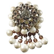 Christian Dior 1959 Rhinestones Faux Pearls Costume Jewelry Brooch.