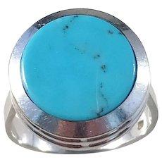 Modernist 14k White Gold Turquoise Ring. Maker's mark. Size 7 1/2. Weight 5.8gram