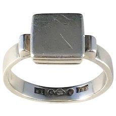Sten Petersson, Sweden year 1945 Solid Silver Mid Century Modern Men's Ring. Us size 10 3/4