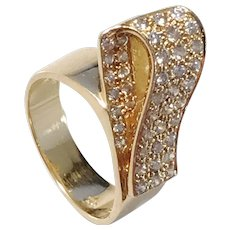 Japanese Mid Century 18k Gold Diamond 0,63 CTW Cocktail Ring. Excellent.