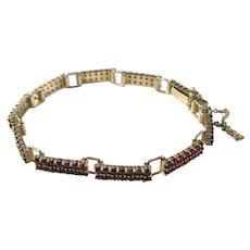 Mid Century Sterling Silver Garnet Bracelet. Austrain import 1950s.