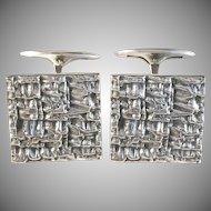 Auran Kultaseppä, Finland year 1967 Large Bold Modernist Brutalist Solid Silver Cufflinks.
