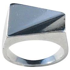 Arne Johansen, Roskilde Denmark Sterling Silver 1960s Modernist Ring.