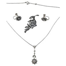 KP, Germany year 1954 Solid Silver Paste Stone Set. Necklace, Earrings Brooch. Old Vintage.