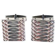 Maker Warmet, Poland Large Mid Century Solid Silver Cufflinks.