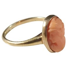 BJCO, Mid Century 14k Gold Carved Coral Cameo Ring. Excellent.