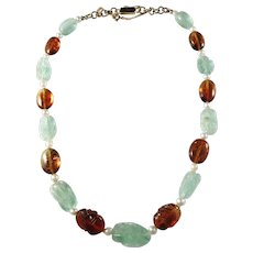 18k Gold Mid Century Carved Amber and Jade Necklace. Excellent.