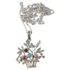 French 1910s La Belle Epoque Sterling Silver Foiled Closed Back Paste Stone Pendant Necklace.