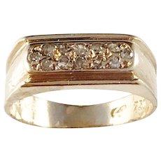 1950s Mid Century 18k Gold Diamond Unisex Ring. Continental Europe.