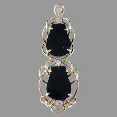 Jack Gutschneider Jewelry Co, Vintage c 1950s 14k Gold, 0.12 ctw Diamond and Onyx Pendant. Excellent.