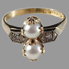 Svedbom, Sweden year 1951 Mid Century 18k Gold Diamond and Cultured Pearl Ring. Excellent.