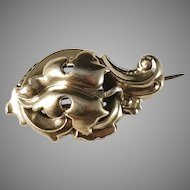 Antique Victorian Nilson & Dahlin, Sweden year 1876 Gilt Solid Silver Brooch.