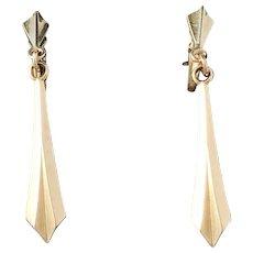 Royal Jeweller Curt Hallberg, Sweden year 1953 Mid Century Modern Pair of 18k Gold Earrings. Excellent.