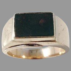 14k Gold Bloodstone Massive 9.4gram 1940s Mid Century Unisex Ring.