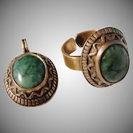 Kalevala Koru, Finland Vintage Bronze Green Jasper Ring and Pendant.
