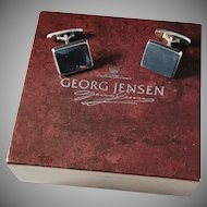 Vintage 1960s Flemming Eskildsen for Georg Jensen, Copenhagen Denmark Design no 84 Sterling Cufflinks in original Box