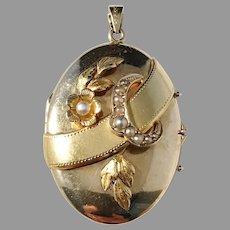Gustav Dahlgren, Sweden year 1931 Seed Pearl 18k Gold Locket Pendant. 8.7gram. Excellent.