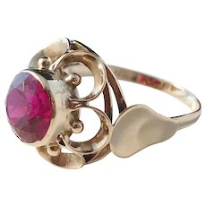 Mid Century 14 K Gold Synthetic Ruby Dinner Ring.