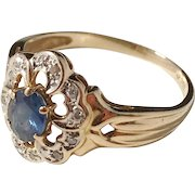 Mid Century Sweden Diamond and Sapphire 18k Gold Ring. Excellent.