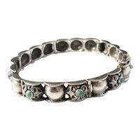 1940s Solid Silver Turquoise Bracelet. Swedish import. Austria.