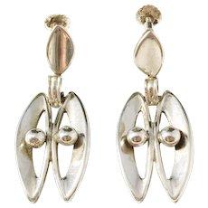 Kaplan, Stockholm year 1957 Solid Silver Mid Century pair of Earrings.