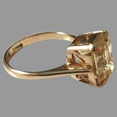 John Mogensen, Denmark 18k Gold Citrine Ring. 1960s.