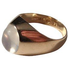 Holmqvist, Stockholm year 1956 Mid Century 18 Gold Moonstone Ring.