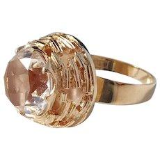 Bengt Hallberg Modernist year 1974 Bold 18k Gold Rock Crystal Ring. Excellent.